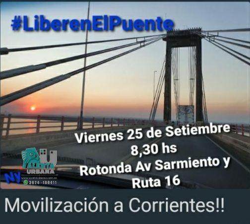 """Convocan a marcha interprovincial """"Liberen el puente"""""""