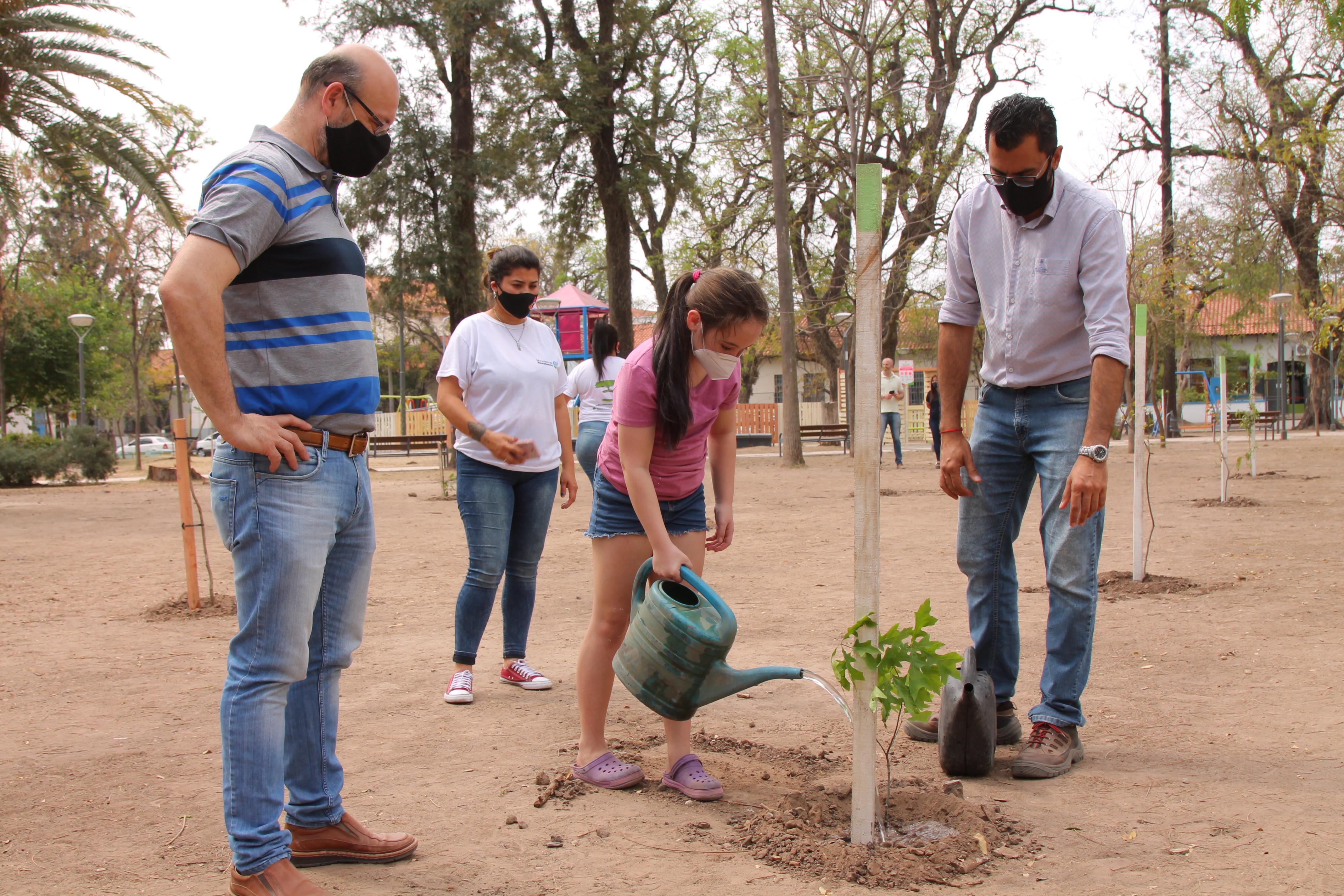 El municipio plantó 45 árboles en la Plaza 9 de Julio