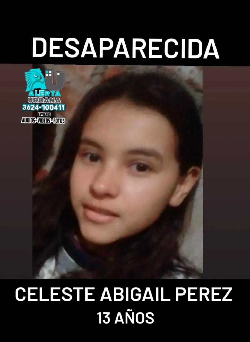 Se solicita información sobre el paradero de Celeste Abigail Pérez de 13 años
