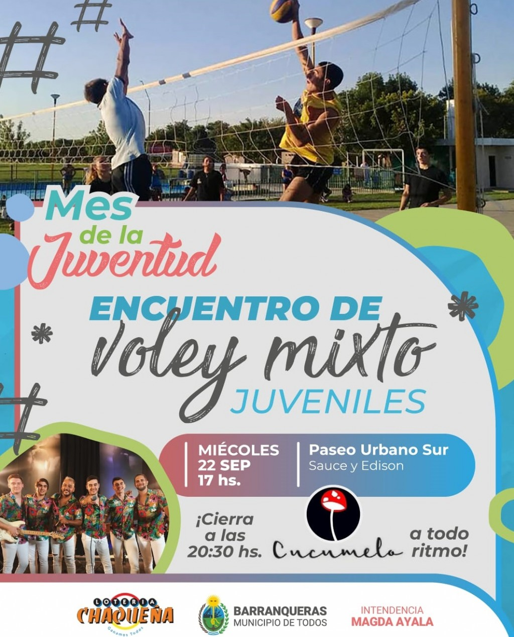 Barranqueras:  encuentro de voley y banda en vivo por el Mes de la Juventud