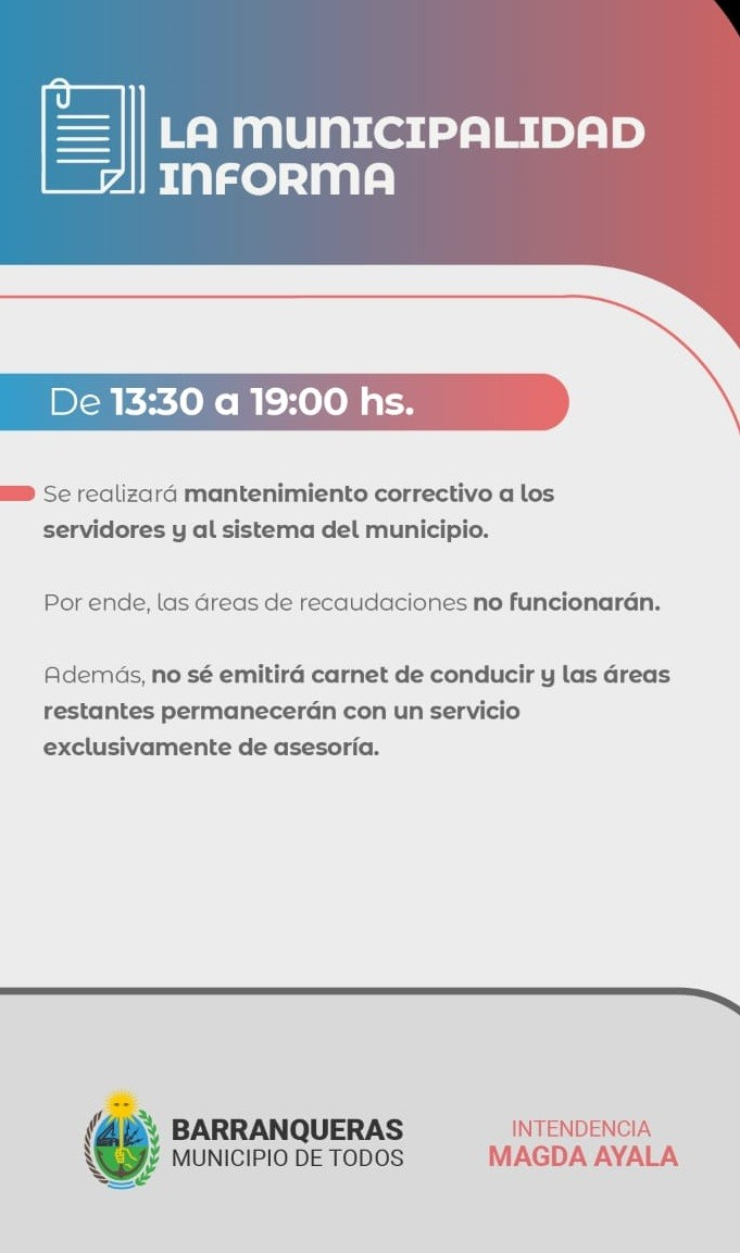 Barranqueras: el municipio informa mantenimientos que suspenderán el funcionamiento de varias áreas por unas horas
