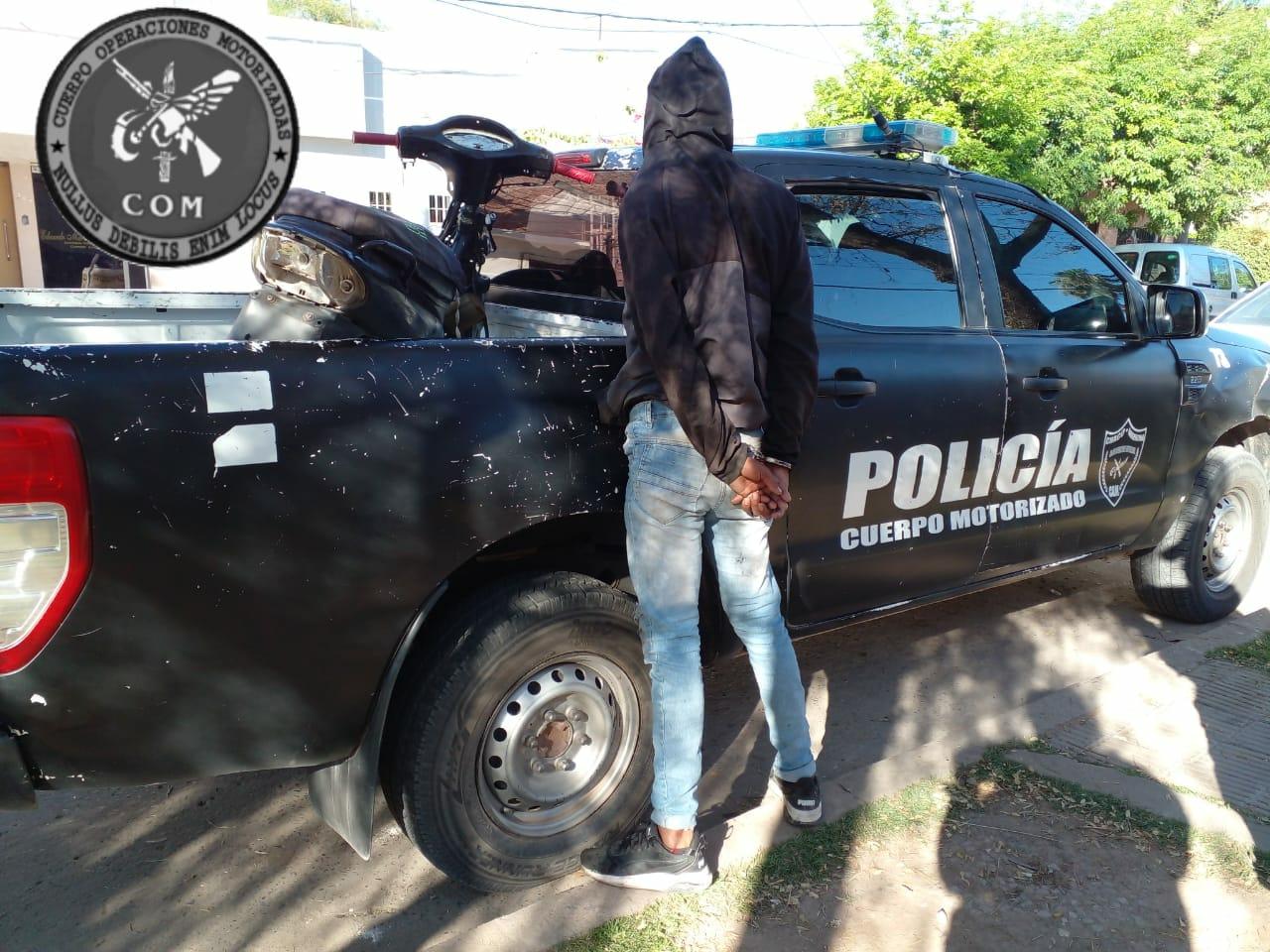 Intento de robo, persecución y detención de un motochorro