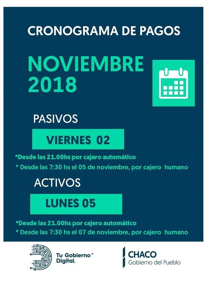 Viernes 02 pasivos y  lunes 05 de noviembre pago de haberes para activos de la Administración Pública