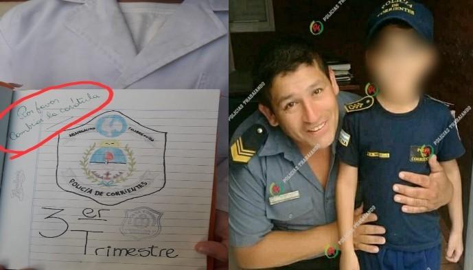 Insólito: una docente le pidió a un alumno que cambie la carátula donde había dibujado el escudo de la Policía de Corrientes