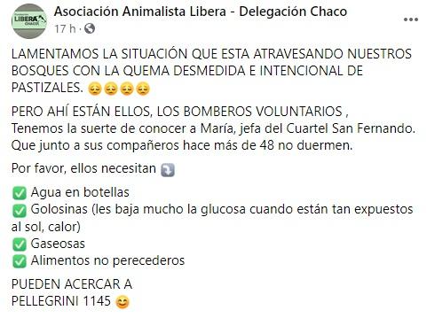 Resistencia: Convocan a donar agua y golosinas para Bomberos Voluntarios.