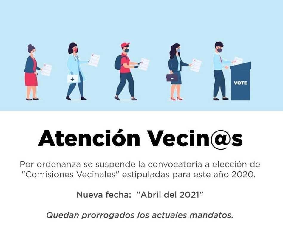 Comisiones Vecinales: elecciones para conformación de autoridades suspendidas