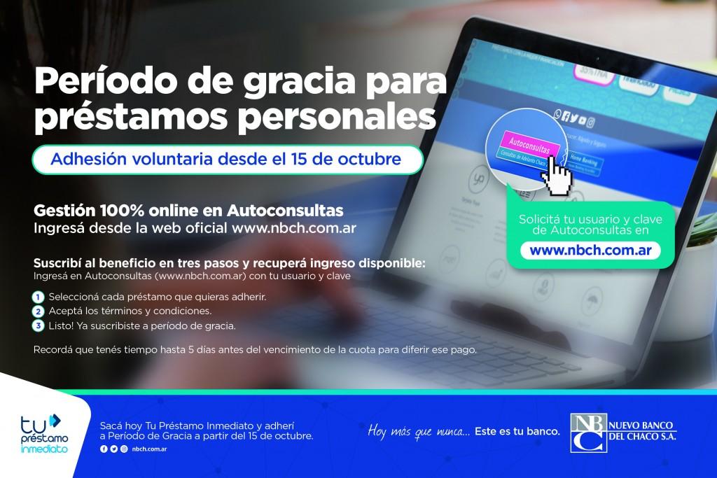 Nuevo Banco del Chaco ya habilitó la adhesión online a período de gracia para préstamos personales