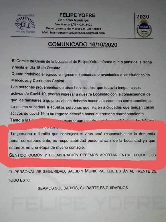 Insólito: un municipio de Corrientes denunciará y expulsará a quienes se contagien de coronavirus.