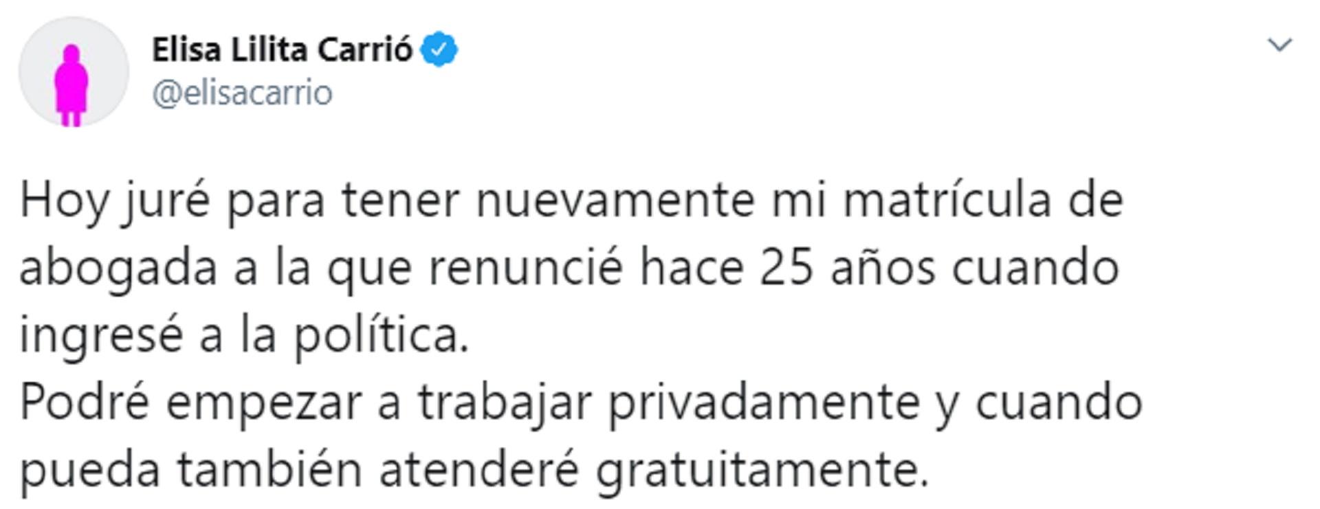 Elisa Carrió recuperó su matrícula de abogada tras 25 años sin ejercer la profesión.