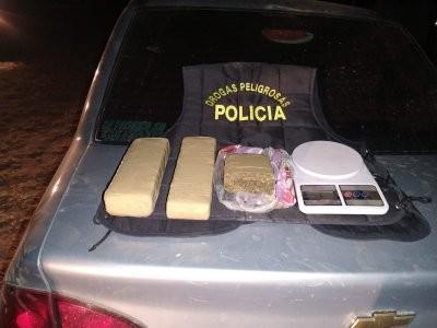 Lo detienen con un kilo y medio de marihuana en su auto
