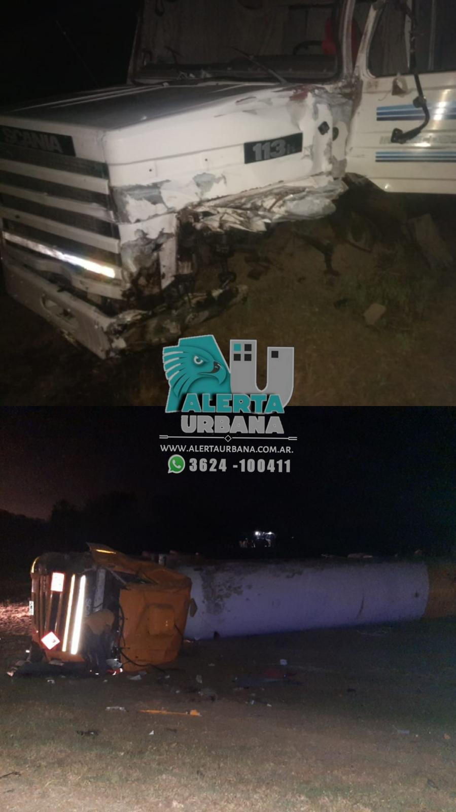 Resistencia: camión cisterna volcó al costado de la ruta.