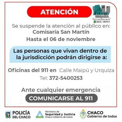 Suspenden la atención al público por 14 días en la Comisaría de General San Martín
