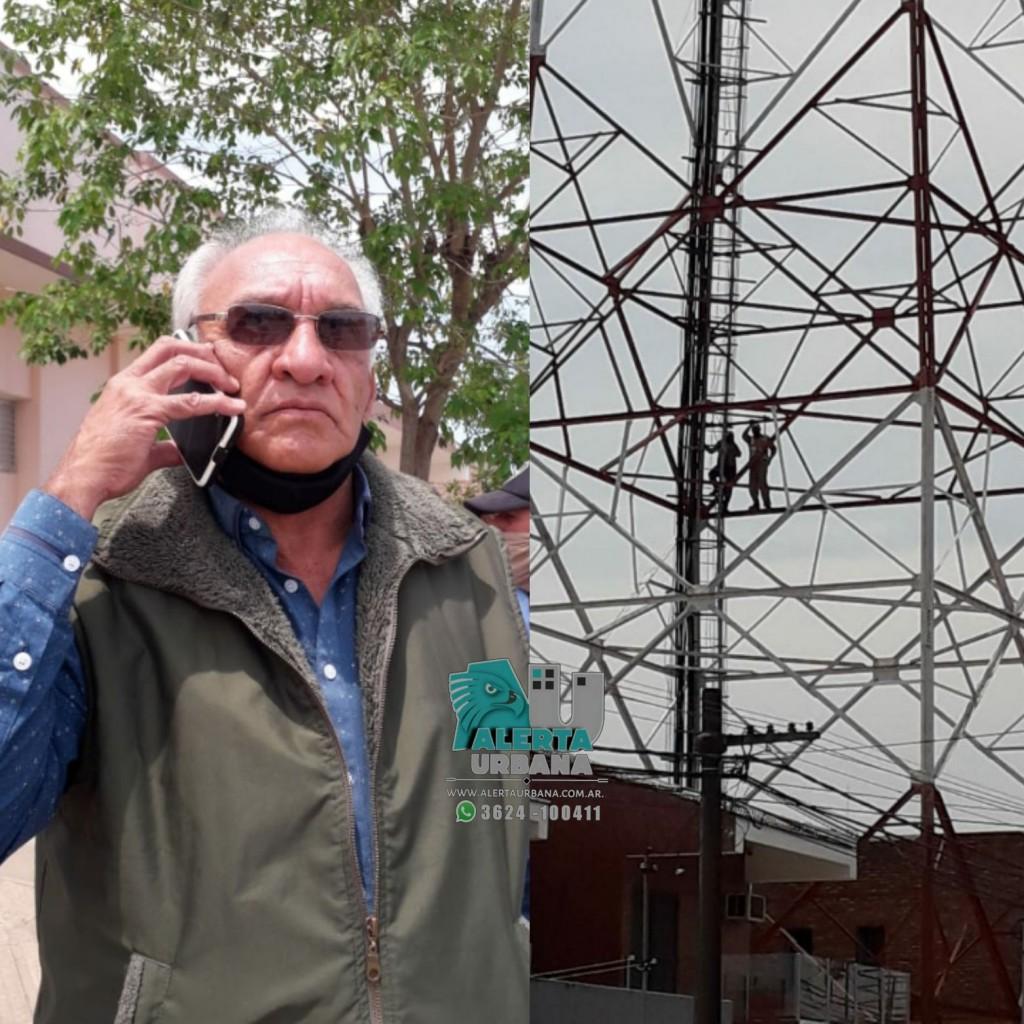 Trabajadores municipales de General San Martín suben a una antena en su tercera jornada de reclamo de mejoras salariales