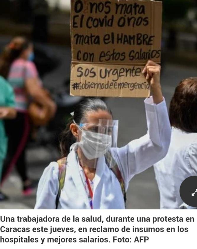 Crisis en Venezuela: sin insumos en los hospitales, los médicos se protegen del coronavirus con máscaras artesanales.