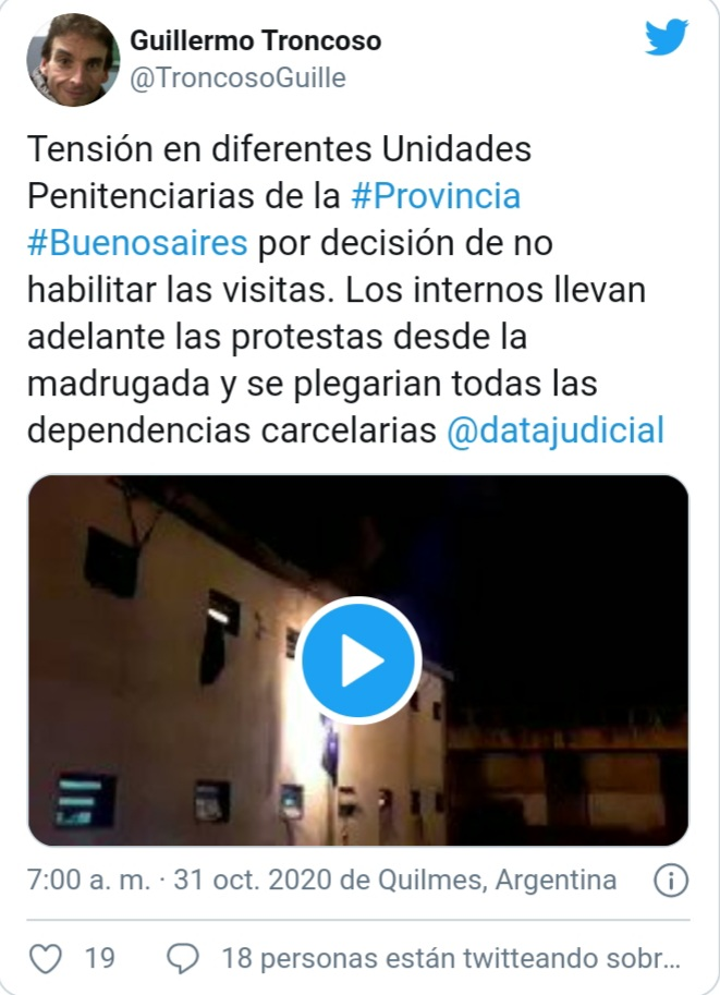 Presos de cárceles bonaerenses desde los techos reclaman el regreso de las visitas.