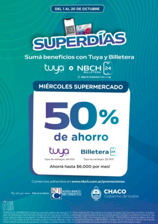 Superdías: beneficios en supermercados con Billetera NBCH24 y Tarjeta Tuya