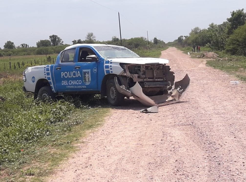 Sáenz Peña: perdió el control del patrullero y volcó