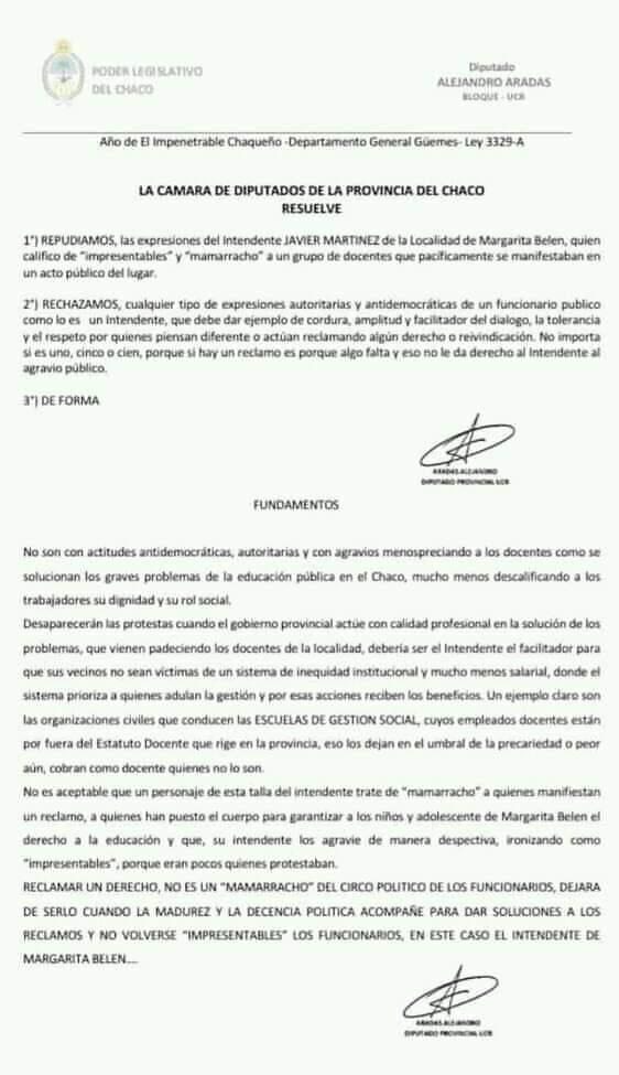 Diputados repudian los dichos del intendente Javier Martínez