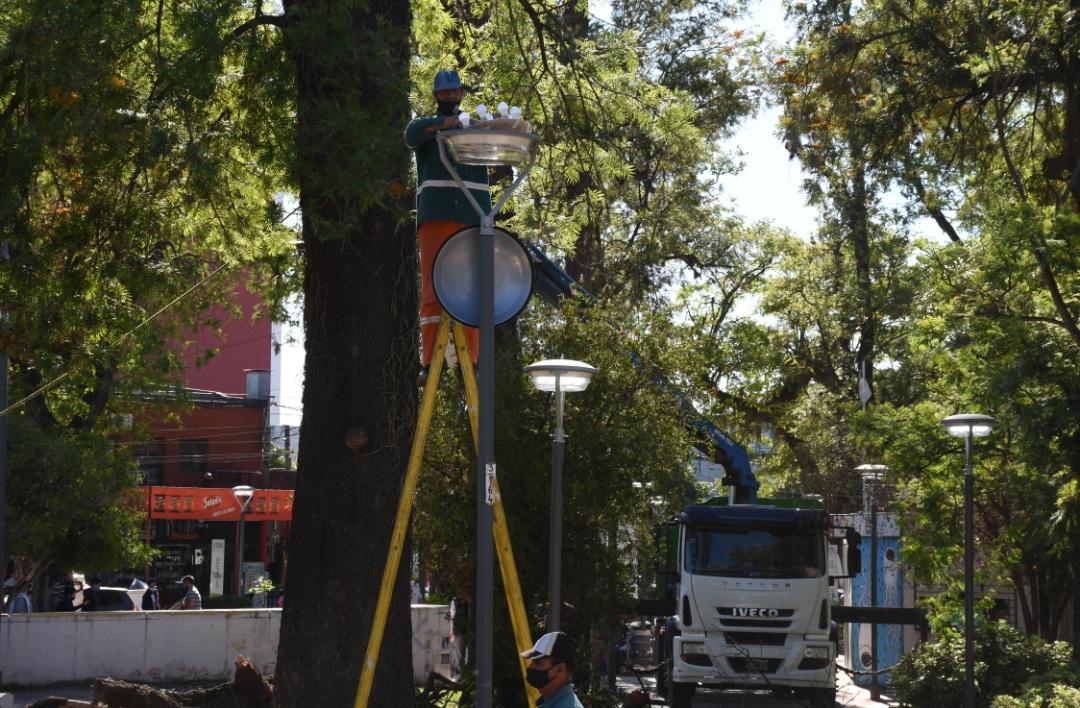 Nueva luminaria y mantenimiento general de la Plaza 9 de Julio