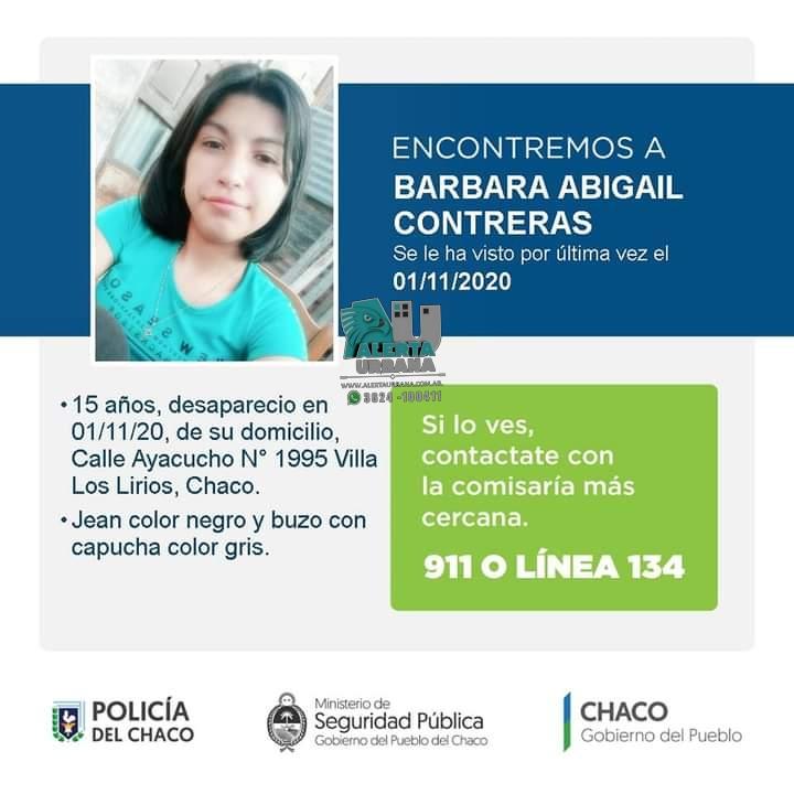 Resistencia: buscan a la joven Barbara Abigail Contreras de 15 años.