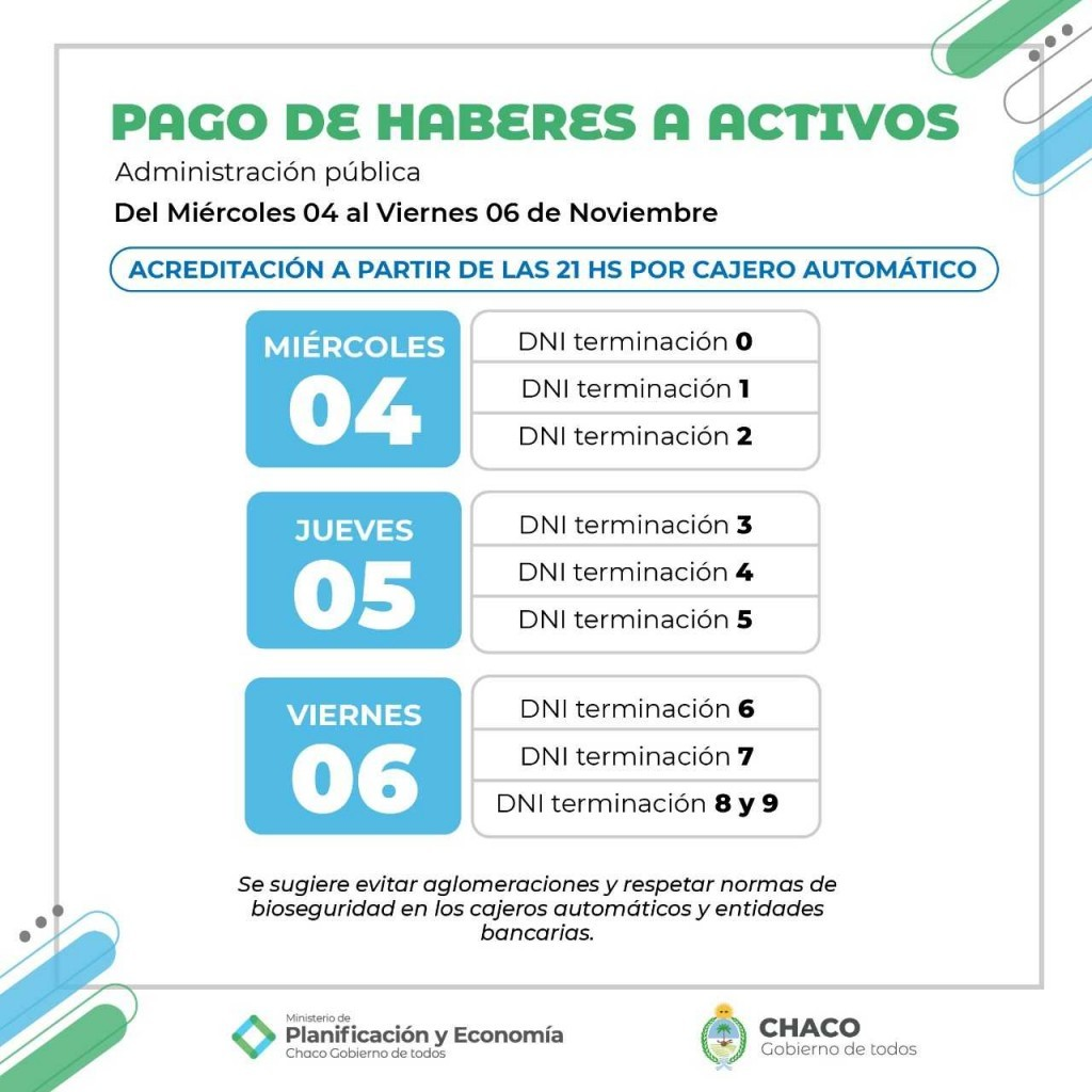 Inicia el pago de salarios para trabajadores activos de la administración pública provincial