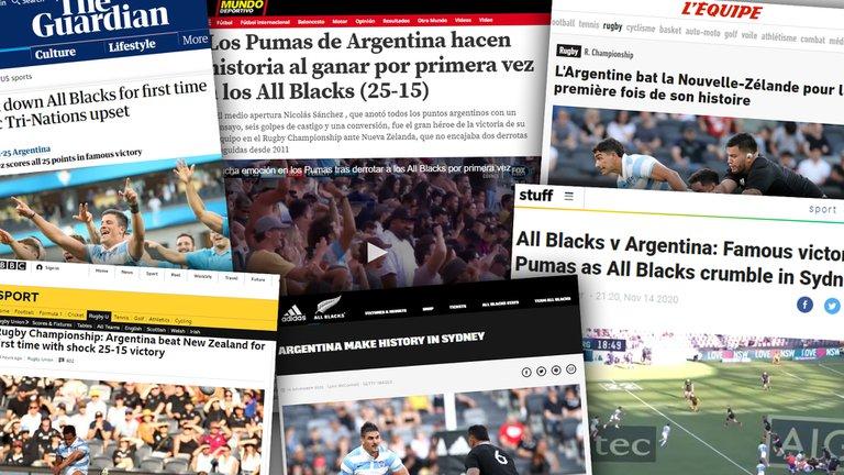 """""""¡La mayor sorpresa de todas!"""": así reflejó la prensa mundial el histórico triunfo de Los Pumas ante los All Blacks"""