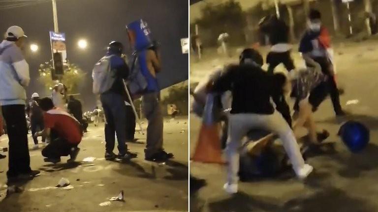 El momento en que un manifestante en Perú recibe un disparo en la cabeza