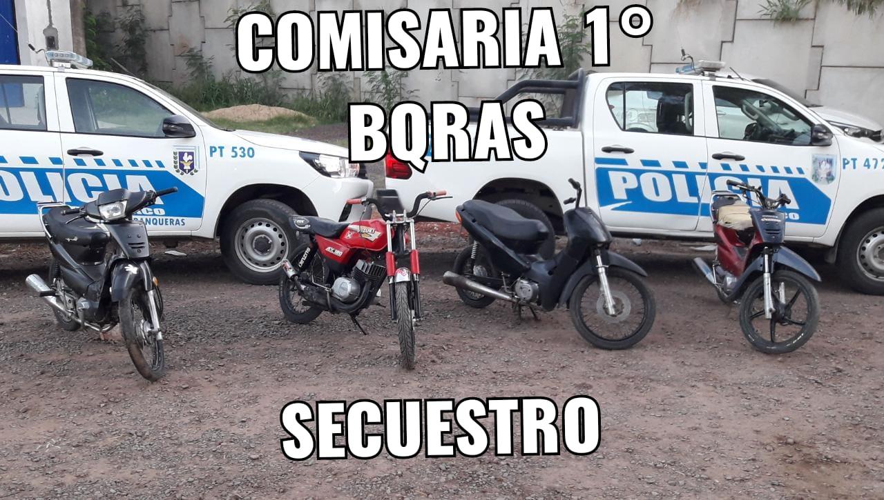 Secuestro de cuatro motos en operativo preventivo de la Cría. 1ra. de Barranqueras